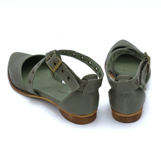 Olive green buckle closure flat sandals, Harper