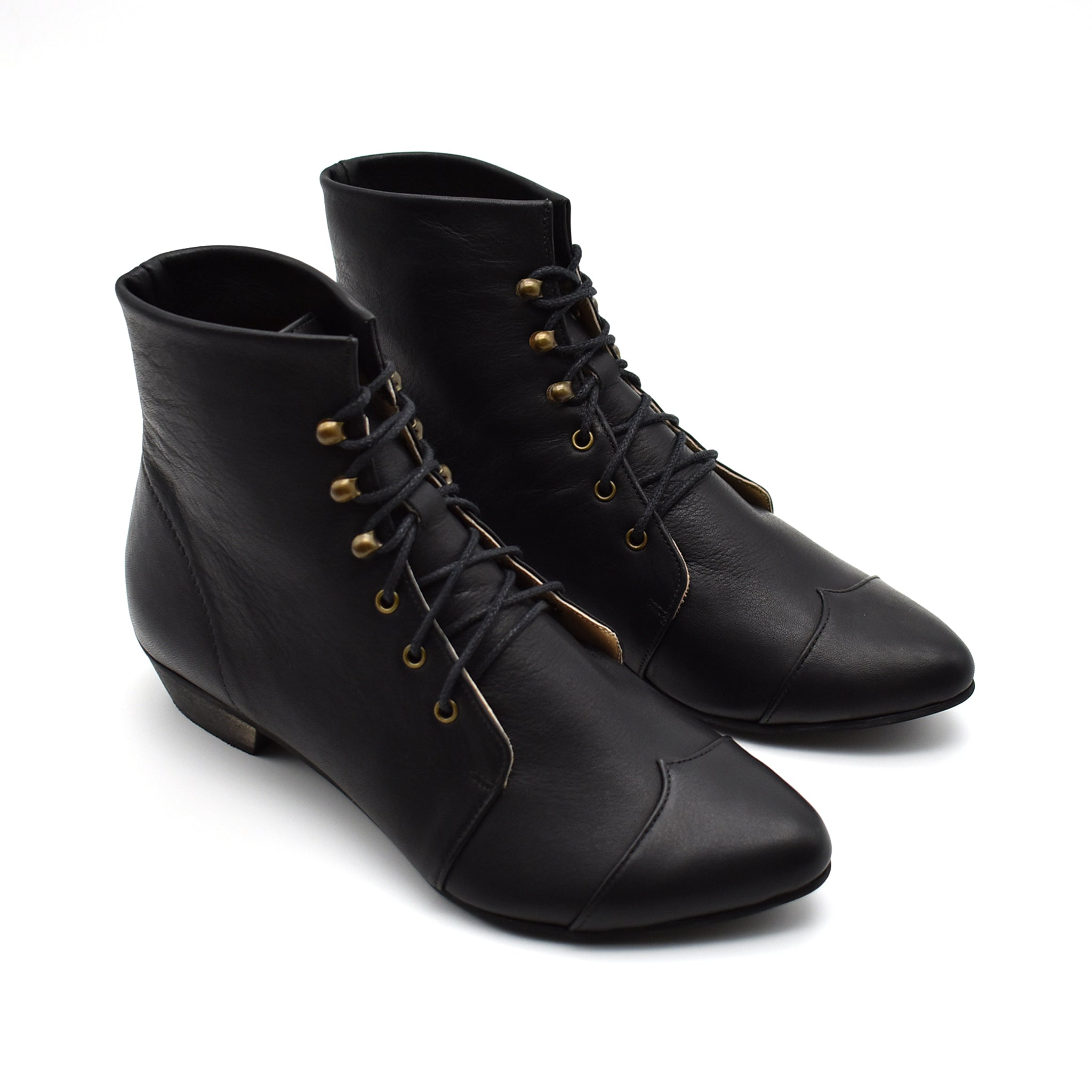 Black Leather lace up oxfords, Polly Jean