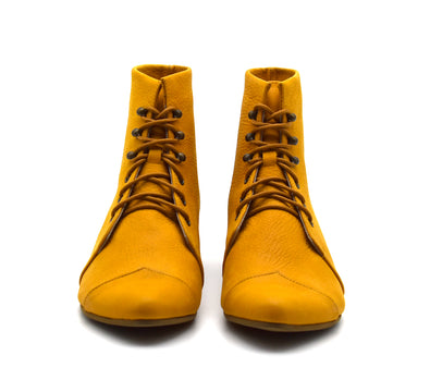 Yellow leather lace up boots, PRE OREDR ONLY