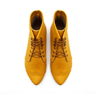 Yellow leather lace up boots, Polly Jean
