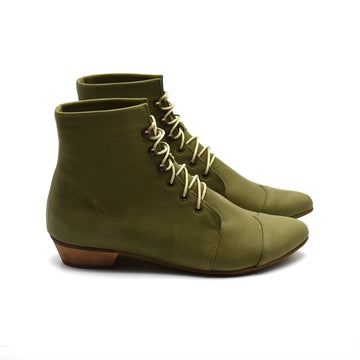 Olive green lace up boots, Polly Jean