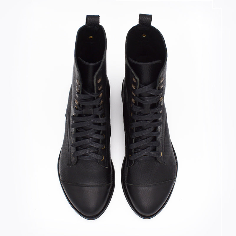 Black leather lace up boots, Janis