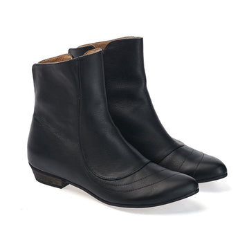 Kim, Black boots, handmade flat leather boots