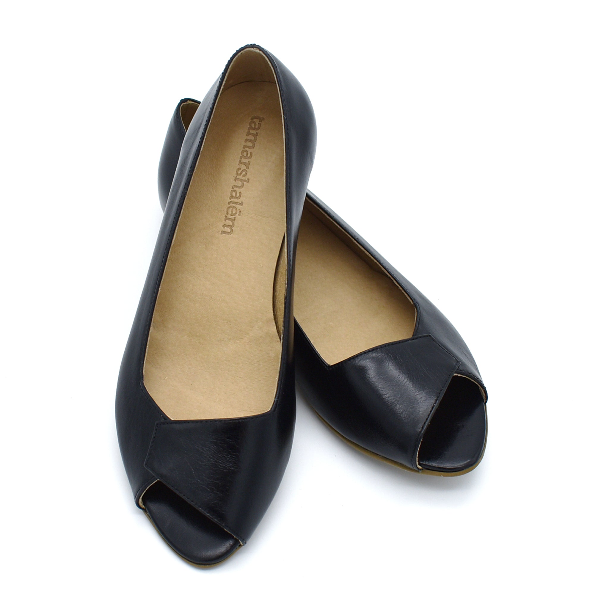 Mia peep toe flats in black