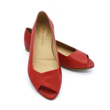 Mia peep toe flats in red