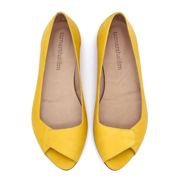 Mia peep toe flats in yellow