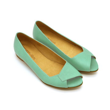 Mia peep toe flats in biscay green, Made to order 3-4 weeks