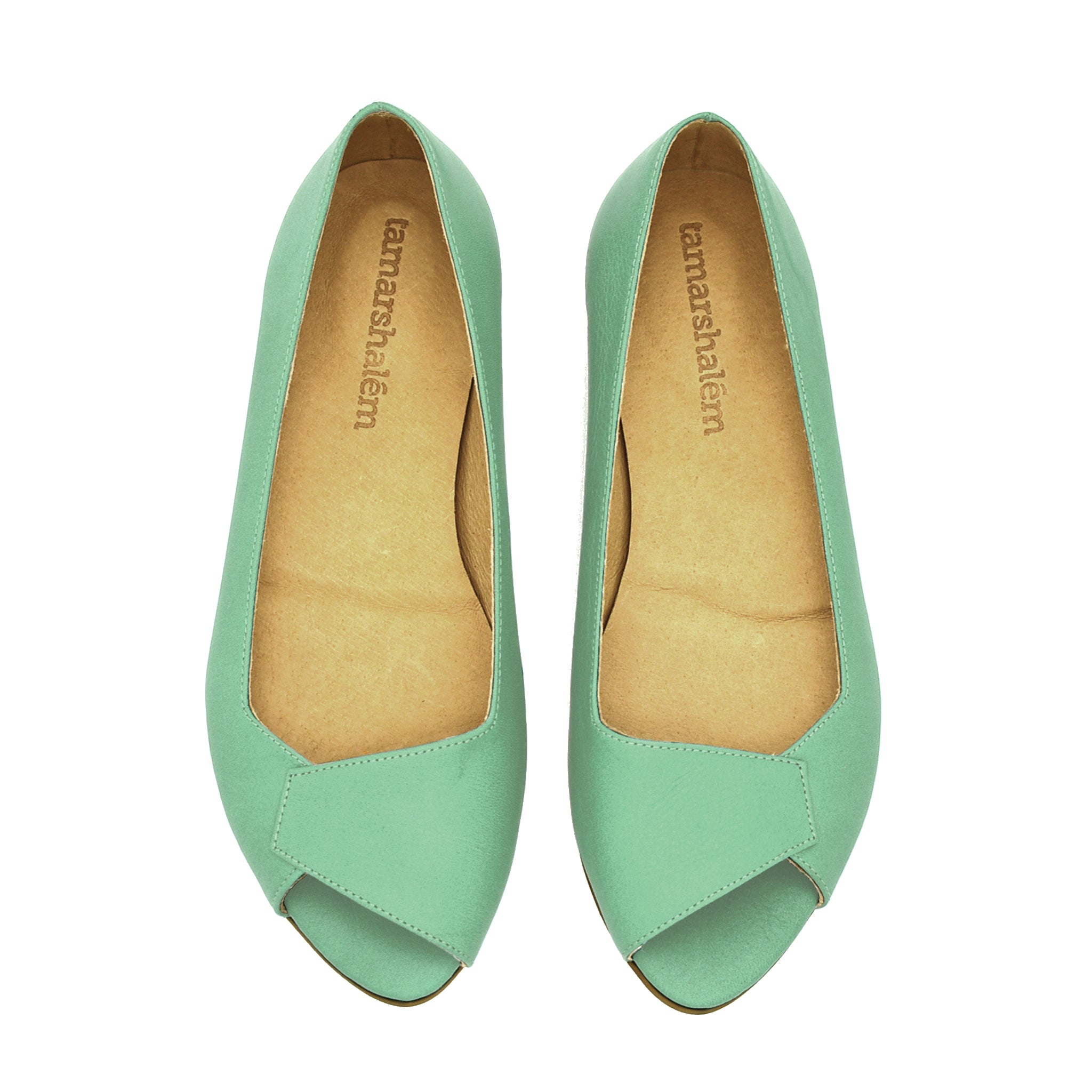 Mia peep toe flats in mint green