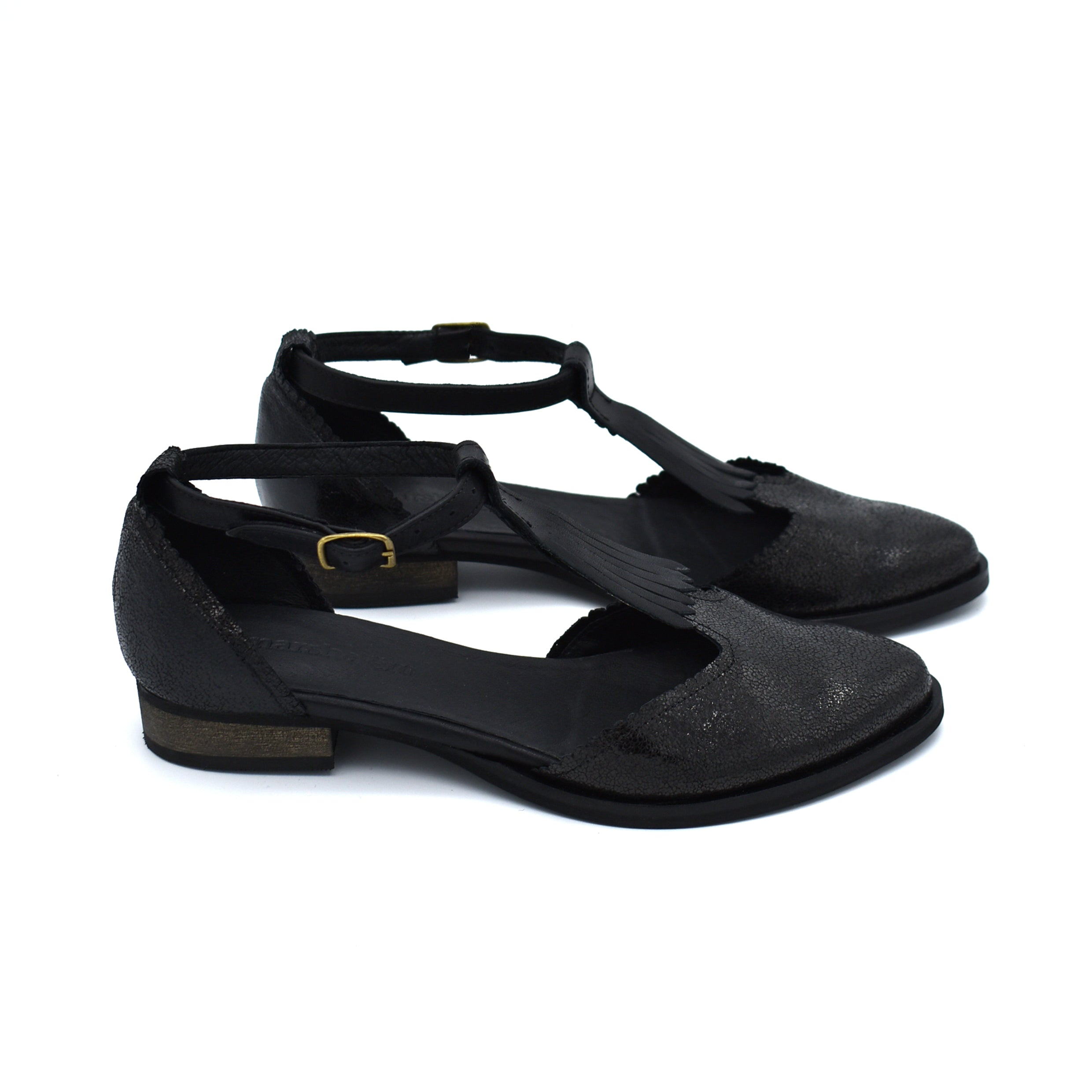 Fringe black leather Nora sandals