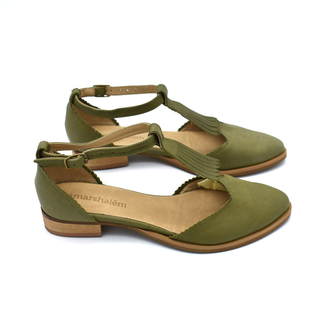 Fringe olive green leather Nora sandals