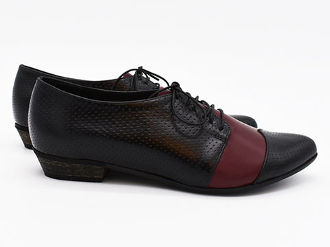 Polly Jean, Black and Bordeaux, Handmade leather oxford shoes