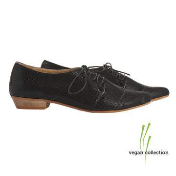 VEGAN Black snake print oxford shoes, Polly Jean