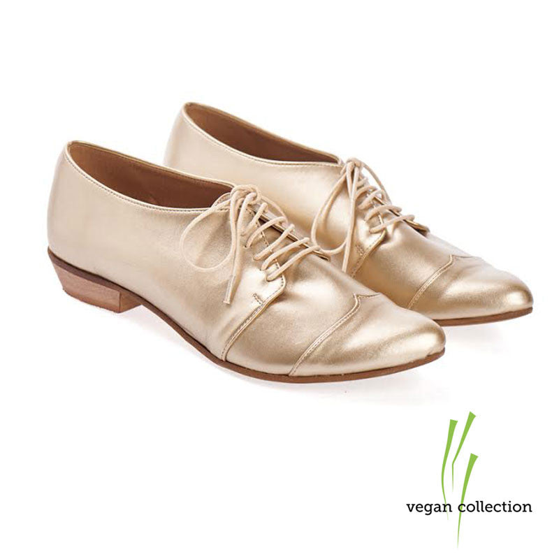 Gold vegan Oxford shoes, Polly Jean