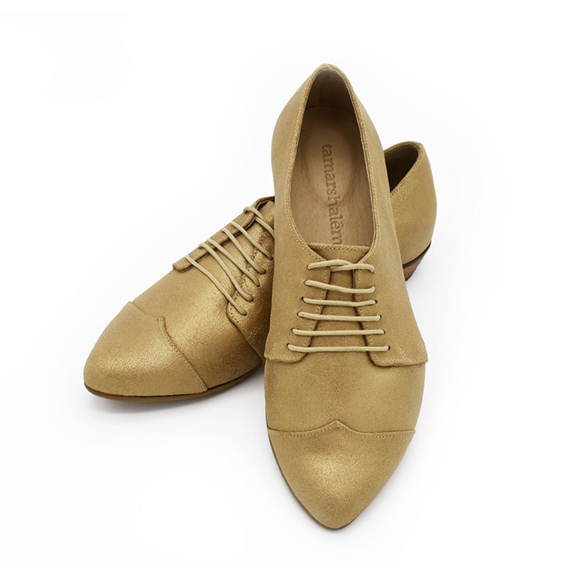 Gold leather oxfords, Polly Jean in gold