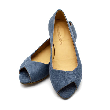 Mia peep toe flats in faded denim, Made to order 3-4 weeks