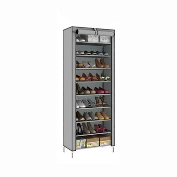 Zipper closure shoe organizer in silver gray