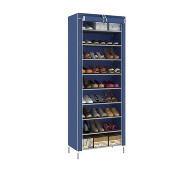 Zipper closure shoe organizer in blue