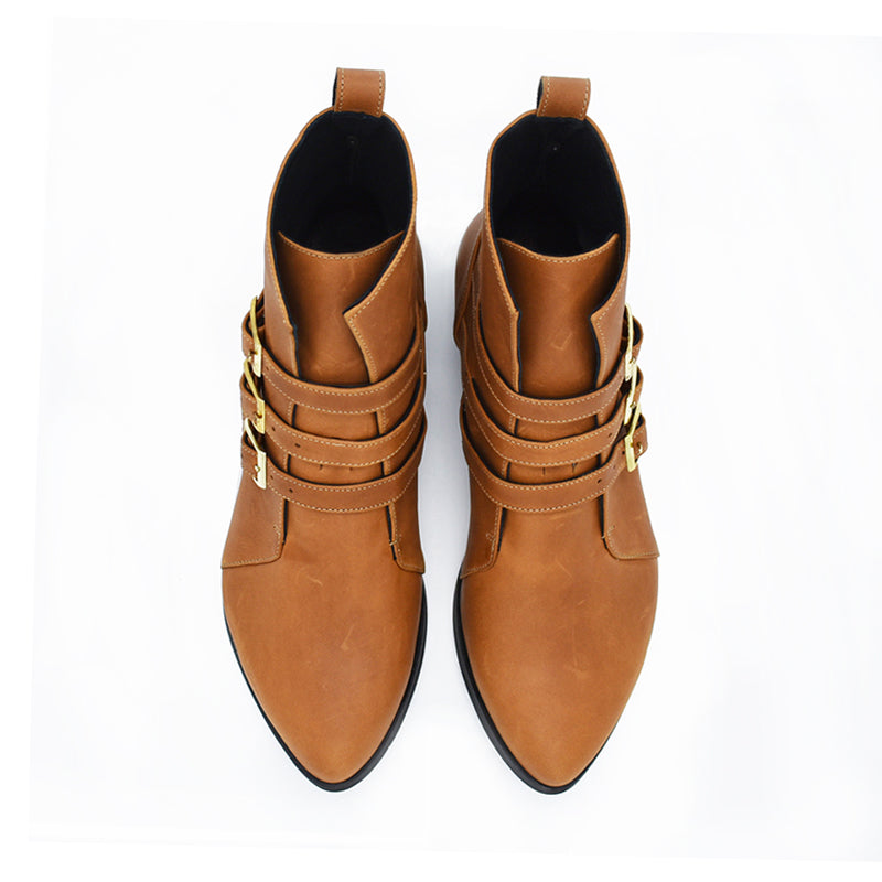 Camel brown leather ankle boots, Savannah