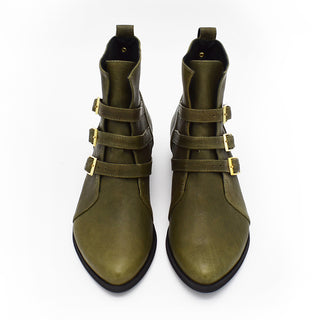 Green leather ankle boots, Savannah in olive green