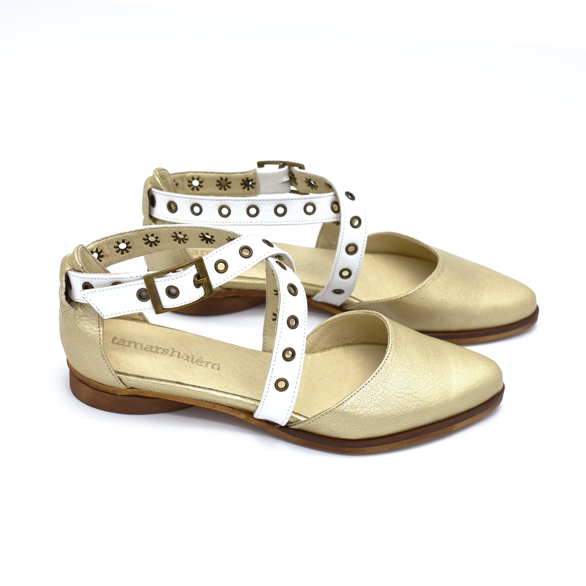 Gold and white buckle closure flat sandals, Harper