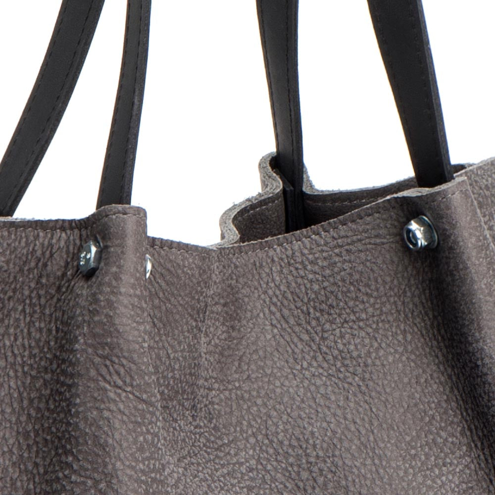 Gray leather tote bag