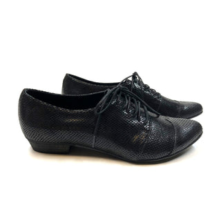 Black leather oxfords, Polly Jean in snake pattern