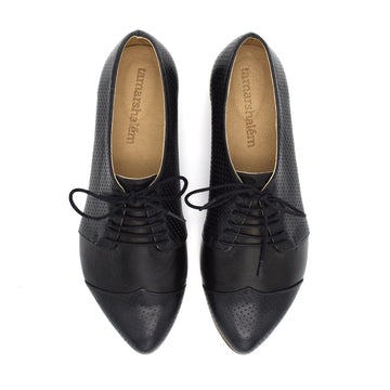 Polly Jean, Black Handmade leather oxford shoes
