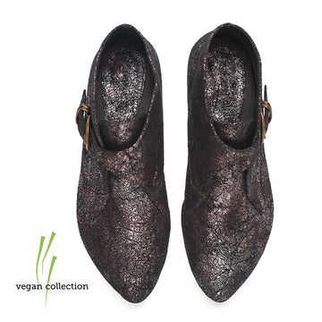 Vegan Tina, Black with hot shiny purple pattern ankle boots
