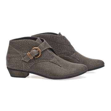 Tina, Elephant brown ankle boots, handmade flat leather boots