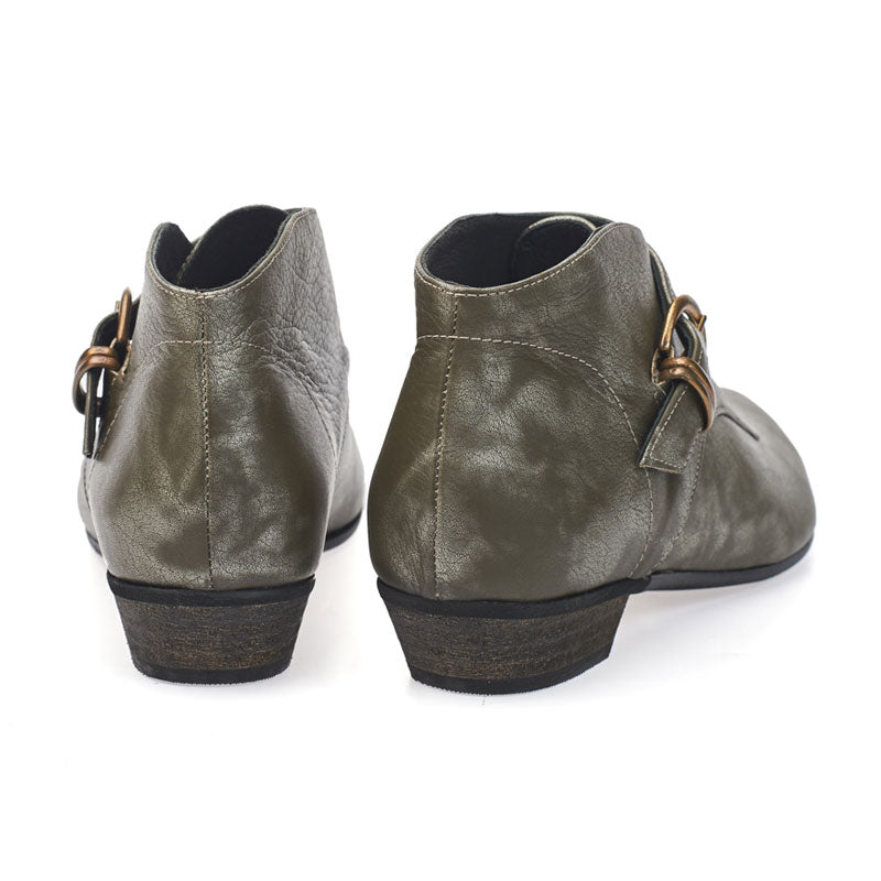 Tina, Olive silver ankle boots, handmade flat leather boots