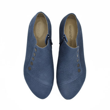 Grace leather flats in denim blue