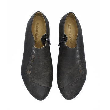 Espresso brown leather flat shoes, Grace,