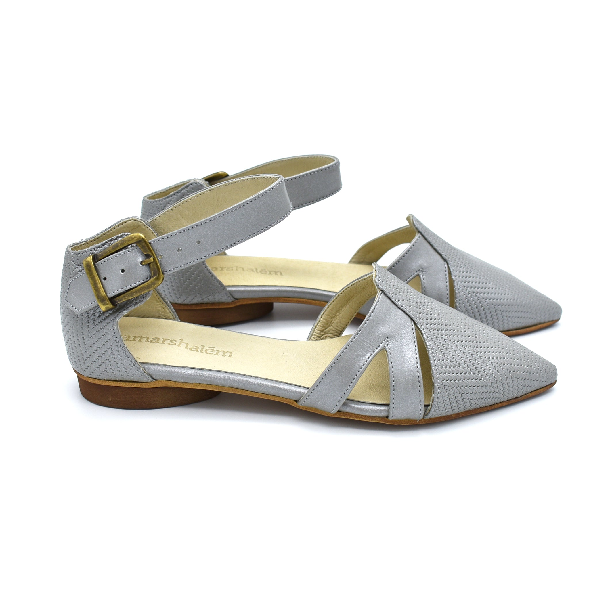 Vivian buckle closure sandals in silver