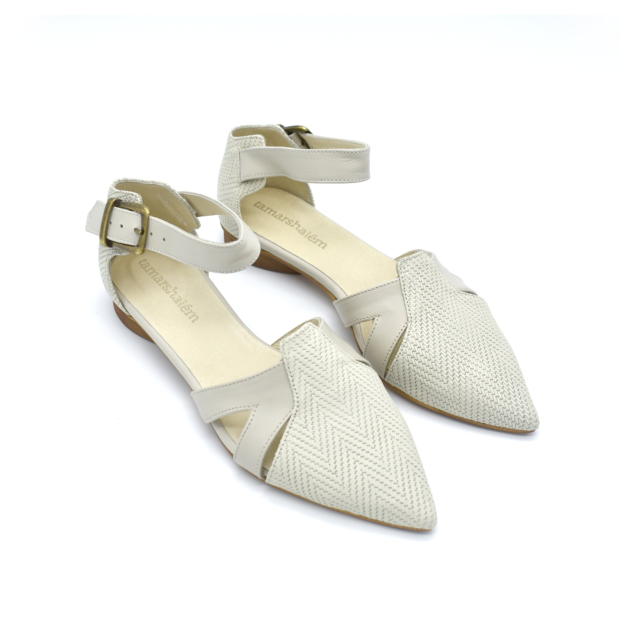 Vivian buckle closure sandals in stone