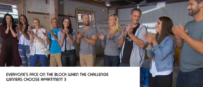 the block 2018 contestants reactions to hayden and sara choosing apartment 3 when they win the room reveal