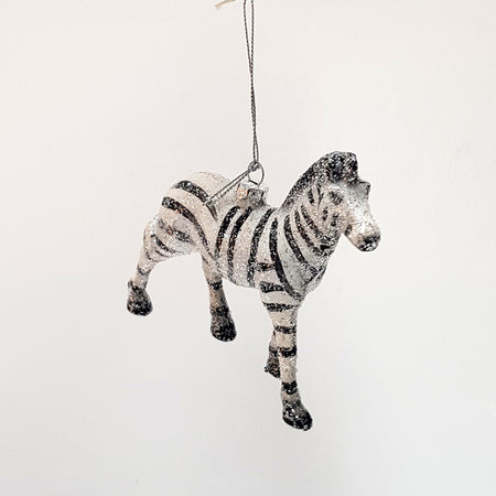 glittery zebra christmas decoration by down to the woods melbourne australia