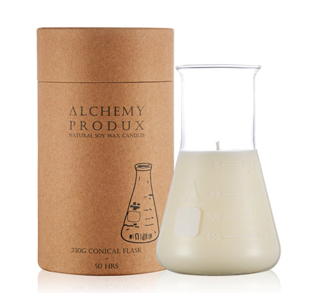 Alchemy Conical Flask Soy Wax Candle in patchouli and balsm hand made in australia in glass flask