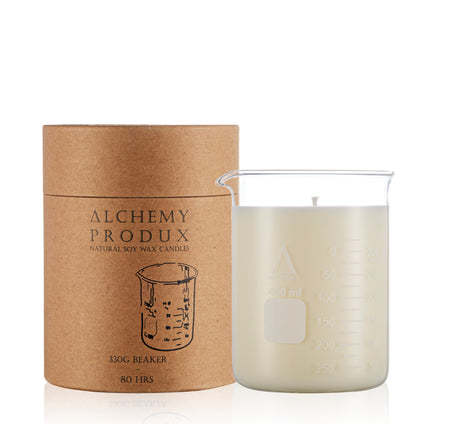 Alchemy Beaker candle 330g soy wax in Patchouli and balsam scent
