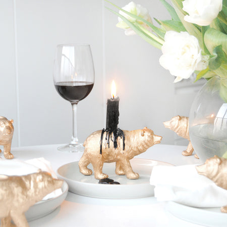 Bear Candle Holder - Gold