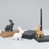 Novelty resin faux animal candle holder in bunny design from the White Moose homewares and home decor collection