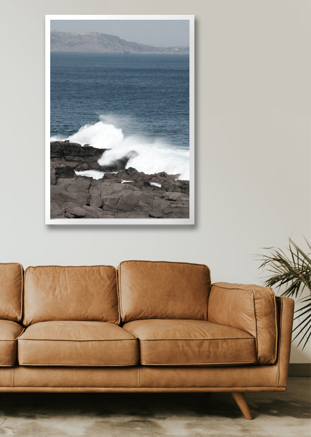 Framed Canvas Print - Crashing Waves