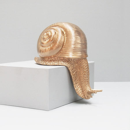 Gold resin crawling off the shelf snail. Snail home decor hanging off the shelf display