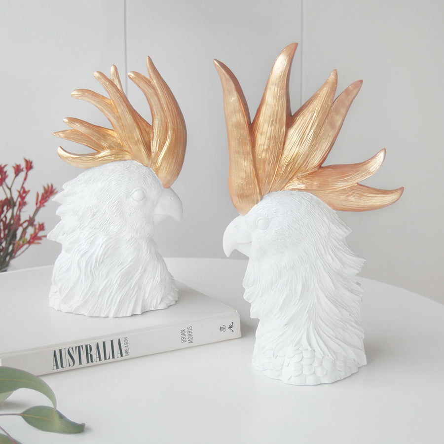 Crested Cockatoo (Set) - White/Gold