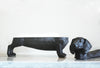 resin black dachshund decor dog with back removed to reveal secret bowl