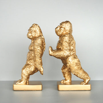 Gorilla Bookend Set - Gold