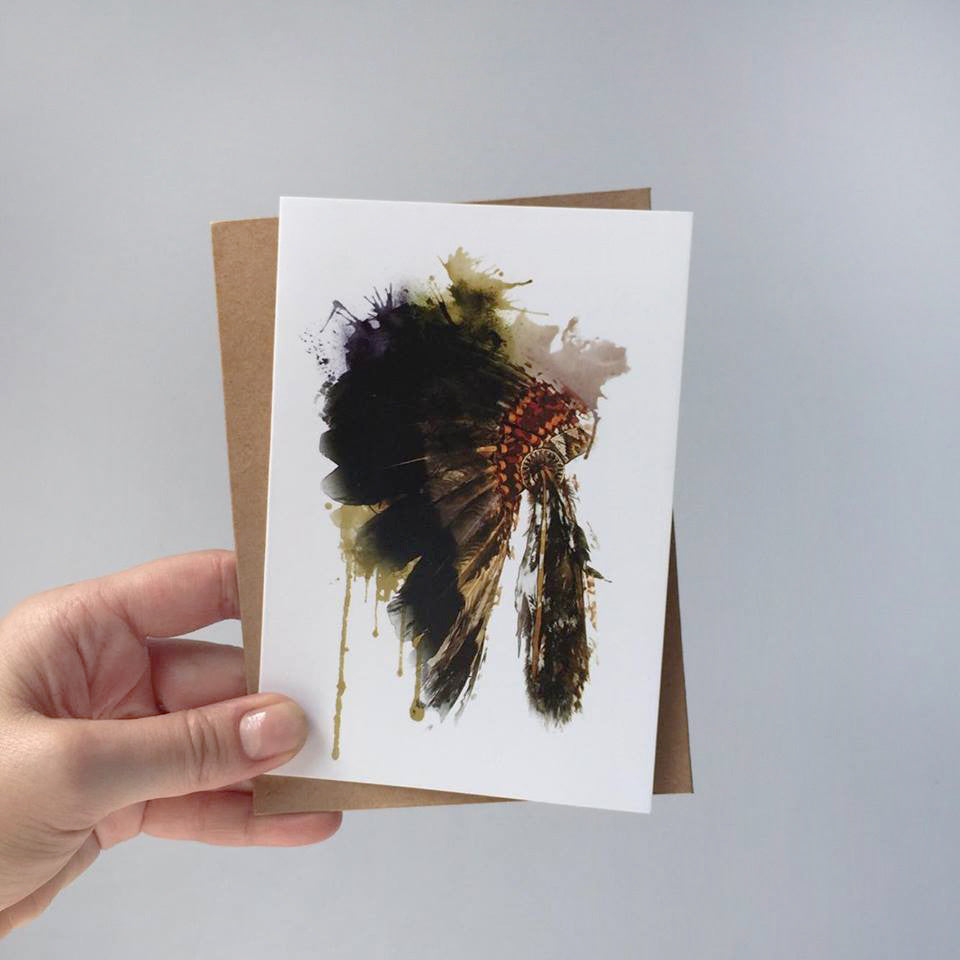 GREETING CARD - Watercolour Headdress