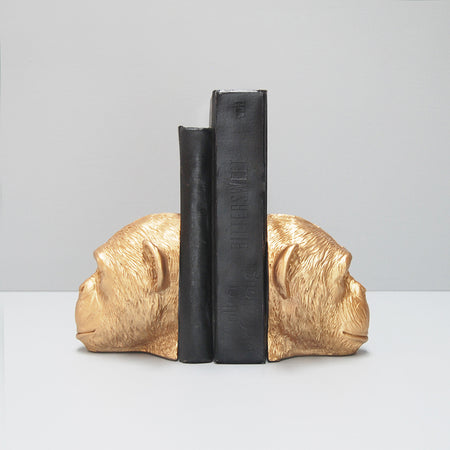 beautiful novelty faux monkey head resin bookends in gold for home interior design and stlying.
