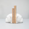 beautiful novelty faux monkey head resin bookends in white for home interior design and stlying.