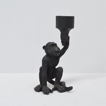 Monkey Candle Holder - Black