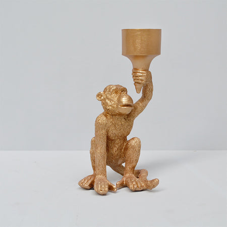 Monkey Candle Holder - Gold